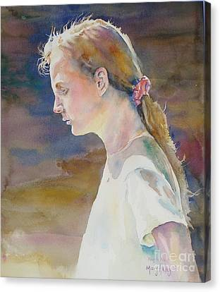 Canvas Print featuring the painting Angels Kiss by Mary Haley-Rocks