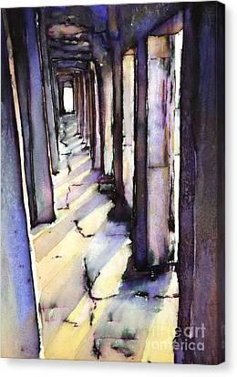 Angkor Wat Corridor2 Canvas Print by Ryan Fox