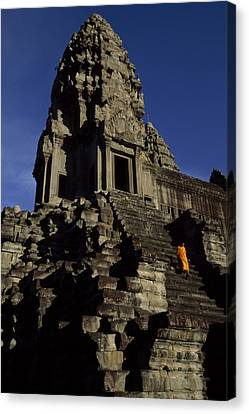 Angkor Wat Temple Complex With Ornate Canvas Print by Paul Chesley