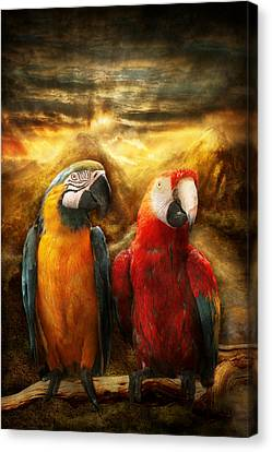 Animal - Parrot - Parrot-dise Canvas Print by Mike Savad