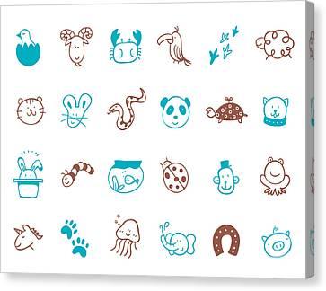 Animal Icon Set Canvas Print