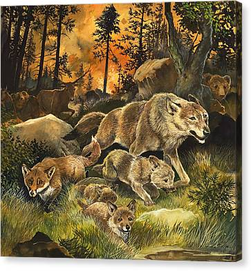 Animals United In Terror As They Flee From A Forest Fire Canvas Print by G W Backhouse