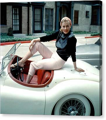 Anita Ekberg, On Her Jaguar, Late 1950s Canvas Print by Everett
