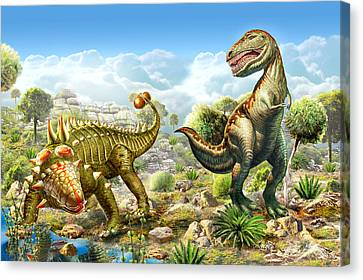 Anklosaurus And Tyranosaur Canvas Print by Adrian Chesterman