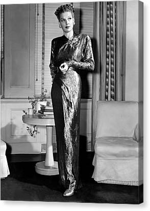 Gold Lame Canvas Print - Ann Sheridan, Portrait, Circa 1946 by Everett