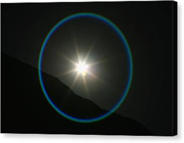 Canvas Print featuring the photograph Annular Solar Eclipse - Blue Ring At Vasquez Rocks by Lon Casler Bixby