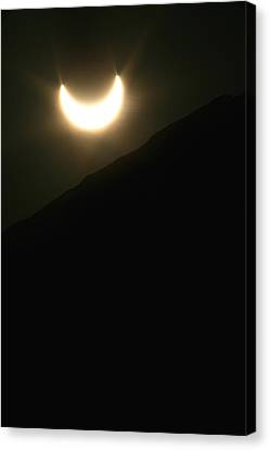 Canvas Print featuring the photograph Annular Solar Eclipse At Sunset Number 1 by Lon Casler Bixby