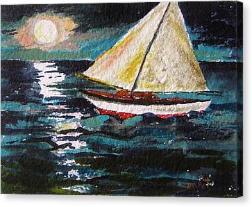 Another Moonlit Sail Canvas Print by John Williams