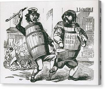Anti-immigrant Cartoon Showing Two Men Canvas Print by Everett