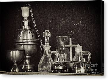 Antique Altar Ware Canvas Print by Methune Hively