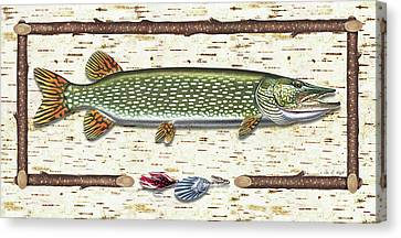 Antique Birch Pike And Lure Canvas Print by JQ Licensing