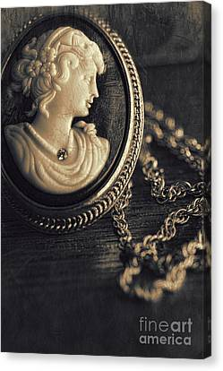 Antique Cameo Medallion On Wood Canvas Print by Sandra Cunningham