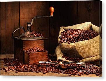Antique Coffee Grinder With Beans Canvas Print