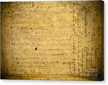 Antique Document Canvas Print by Dave & Les Jacobs