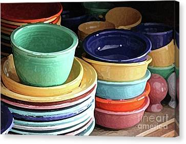 Antique Fiesta Dishes I Canvas Print by Marilyn West