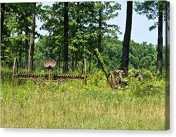Pastue Canvas Print - Antique Hayrake And Cutter 1 by Douglas Barnett
