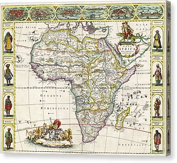 Race Canvas Print - Antique Map Of Africa by Dutch School