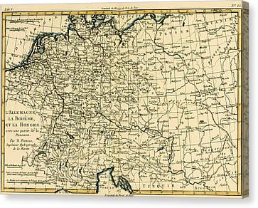 Antique Map Of Germany Bohemia And Hungary With Part Of Poland Canvas Print