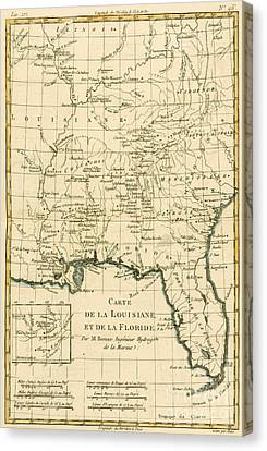 Antique Map Of Louisiana And Florida Canvas Print by Guillaume Raynal
