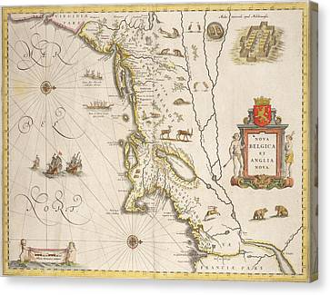 Antique Map Of New Belgium And New England Canvas Print