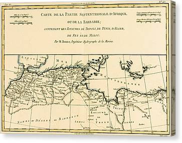 Antique Map Of North Africa Canvas Print by Guillaume Raynal