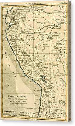 Antique Map Of Peru Canvas Print by Guillaume Raynal