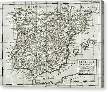 Antique Map Of Spain And Portugal Canvas Print