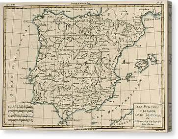 Iberian Canvas Print - Antique Map Of Spain by Guillaume Raynal