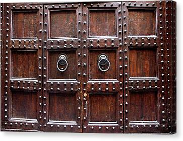 Antique Wood Door In Florence Canvas Print by Giuseppe Ceschi