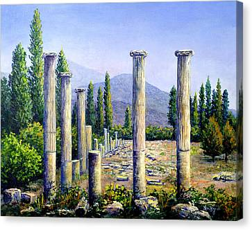 Canvas Print featuring the painting Aphrodesias Ruins by Lou Ann Bagnall