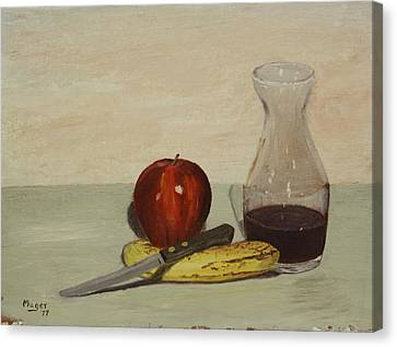 Apple And Banana Canvas Print by Alan Mager