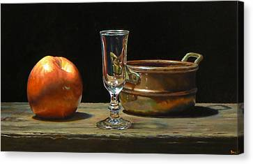 Apple Glass Copper Canvas Print by Jeffrey Hayes
