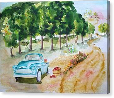 Apple Harvest Fun Canvas Print by Sharon Mick