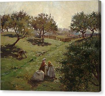 Picker Canvas Print - Apple Orchard by Luther  Emerson van Gorder