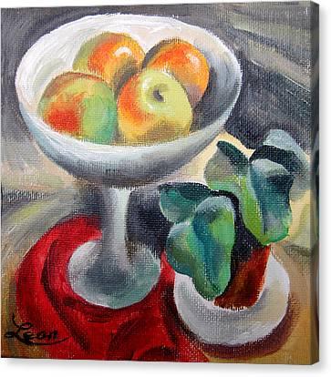 Apples In A Vase Canvas Print by Leon Zernitsky
