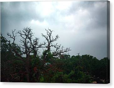 Canvas Print featuring the photograph Approaching Storm Viewed Through My Rain Streaked Window by Lon Casler Bixby