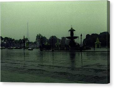 Canvas Print featuring the photograph April Fog With Water Fountain by Louis Nugent