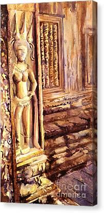 Apsara Bas-relief Canvas Print by Ryan Fox
