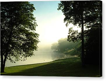 Canvas Print featuring the photograph Aqua Lake Myst And Trees by Peg Toliver