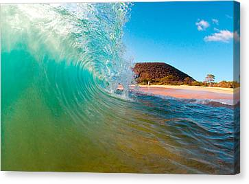 Aqua Swirl Canvas Print by Monica and Michael Sweet