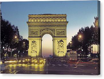Arc De Triomphe And The  Champs-elysees Canvas Print