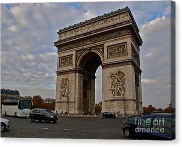 Canvas Print featuring the photograph Arc De Triomphe by Eric Tressler