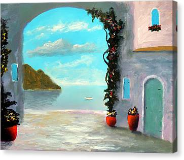 Arch To The Sea Canvas Print by Larry Cirigliano