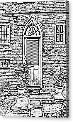 Arched Doorway French Quarter New Orleans Photocopy Digital Art Canvas Print by Shawn O'Brien
