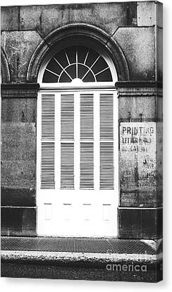 Arched White Shuttered Window French Quarter New Orleans Black And White Film Grain Digital Art  Canvas Print