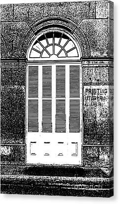 Arched White Shuttered Window French Quarter New Orleans Photocopy Digital Art  Canvas Print by Shawn O'Brien