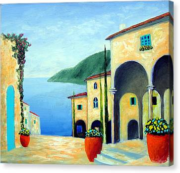 Canvas Print featuring the painting Arches On The Riviera by Larry Cirigliano