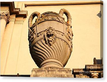 Architectural Detail . Large Urn With Lion Gargoyle  . Hearst Gym . Uc Berkeley . 7d10188 Canvas Print by Wingsdomain Art and Photography