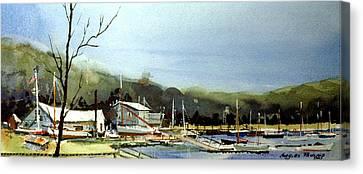 Areys Pond Boat Yard Canvas Print by Charles Rowland