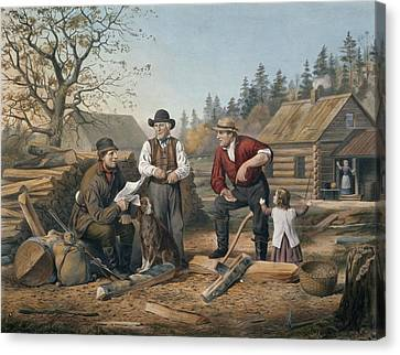 Arguing The Point Canvas Print by Currier and Ives